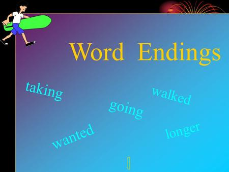 Word Endings wanted going longer walked taking. When to double Double when you find a short vowel next to the last letter bat..batting 1) Is it short?