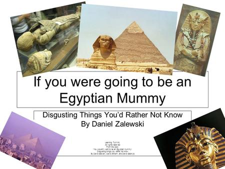 Disgusting Things Youd Rather Not Know By Daniel Zalewski Learning Turn Inc. All rights reserved From the book: You wouldnt want to be an Egyptian Mummy!