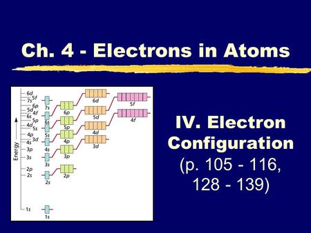 IV. Electron Configuration (p. 105 - 116, 128 - 139) Ch. 4 - Electrons in Atoms.