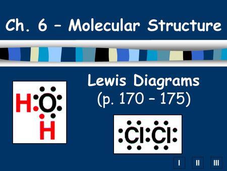 IIIIII Lewis Diagrams (p. 170 – 175) Ch. 6 – Molecular Structure.