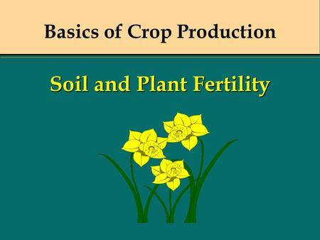 Basics of Crop Production Soil and Plant Fertility.