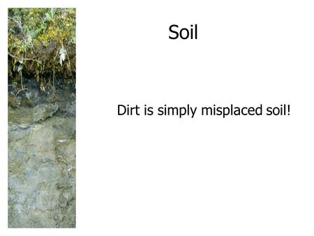 Soil Dirt is simply misplaced soil!. SOIL: A RENEWABLE RESOURCE Soil is a slowly renewed resource that provides most of the nutrients needed for plant.