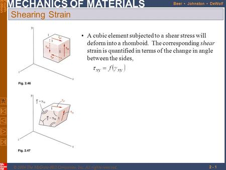 © 2006 The McGraw-Hill Companies, Inc. All rights reserved. MECHANICS OF MATERIALS FourthEdition Beer Johnston DeWolf 2 - 1 Shearing Strain A cubic element.