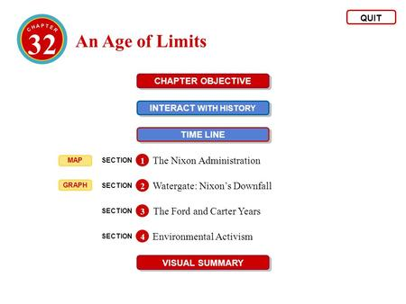32 An Age of Limits QUIT CHAPTER OBJECTIVE INTERACT WITH HISTORY INTERACT WITH HISTORY TIME LINE VISUAL SUMMARY SECTION The Nixon Administration 1 SECTION.