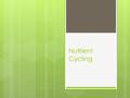 Nutrient Cycling. Lake Victoria  Incredible diversity of cichlid fishes.  More than half of the 500 species now endangered.  Nile perch  Increased.