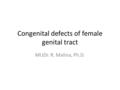 Congenital defects of female genital tract MUDr. R. Malina, Ph.D.