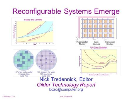 8 February 2014Nick Tredennick Reconfigurable Systems Emerge Nick Tredennick, Editor Gilder Technology Report bozo@computer.org.