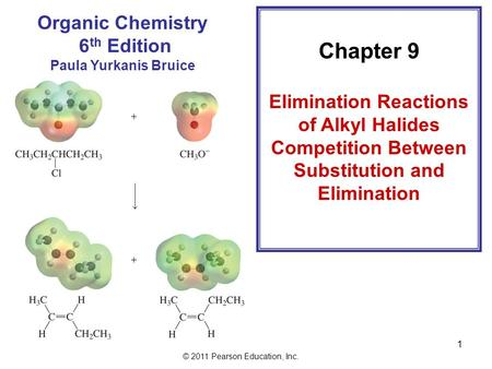 © 2011 Pearson Education, Inc. Chapter 9 Elimination Reactions of Alkyl Halides Competition Between Substitution and Elimination Organic Chemistry 6 th.